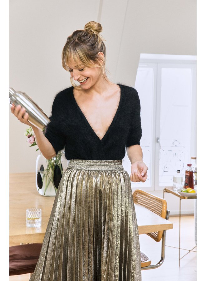 Jonas Metallic Pleat Skirt - Bronze