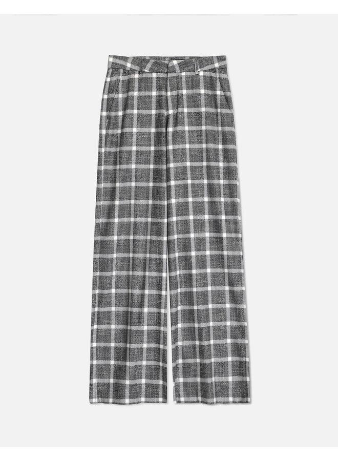 Pamelo Fancy Wide Trouser - Silver Check