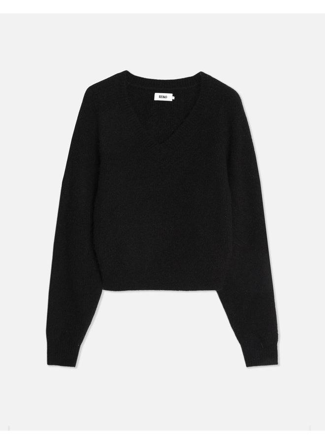 Peony V-Neck Knit - Black