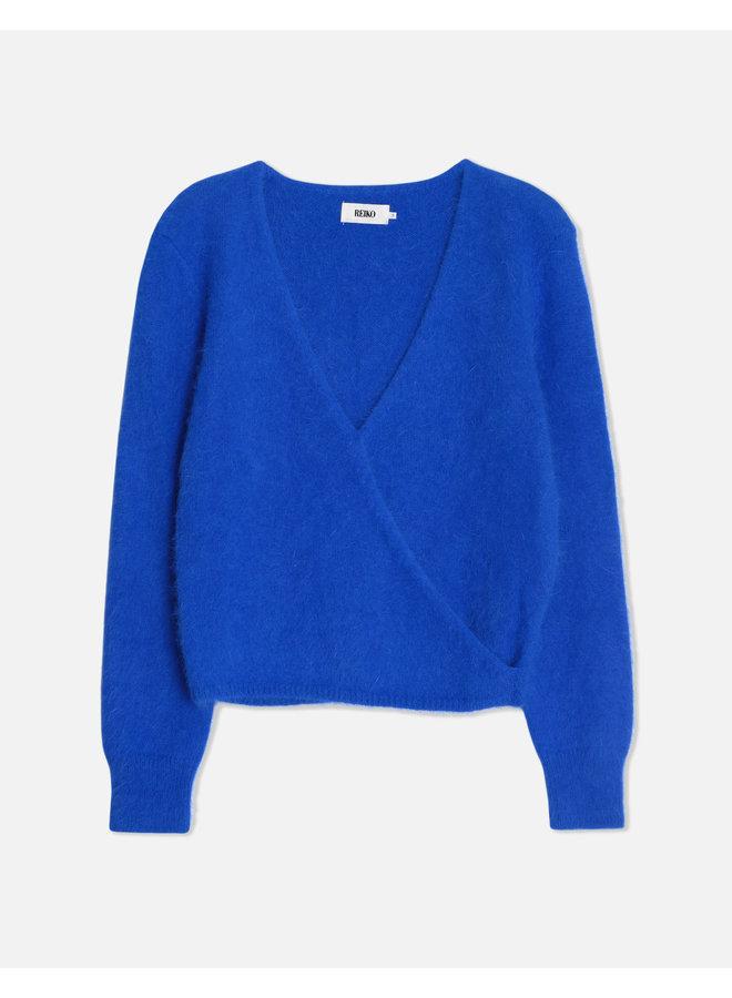Paros Angora Wrap Knit - Cobalt Blue