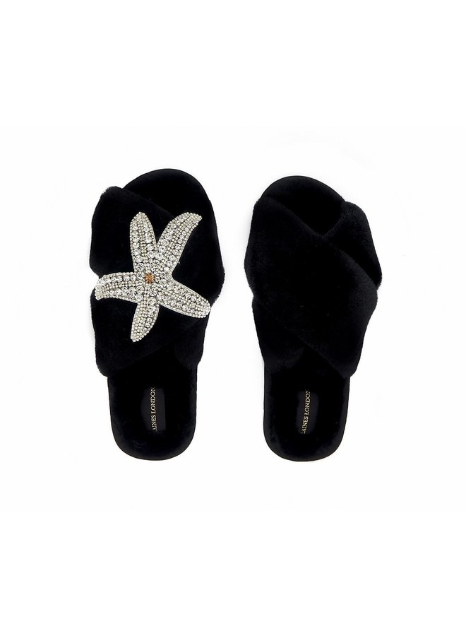 Starfish Slippers - Black/Silver