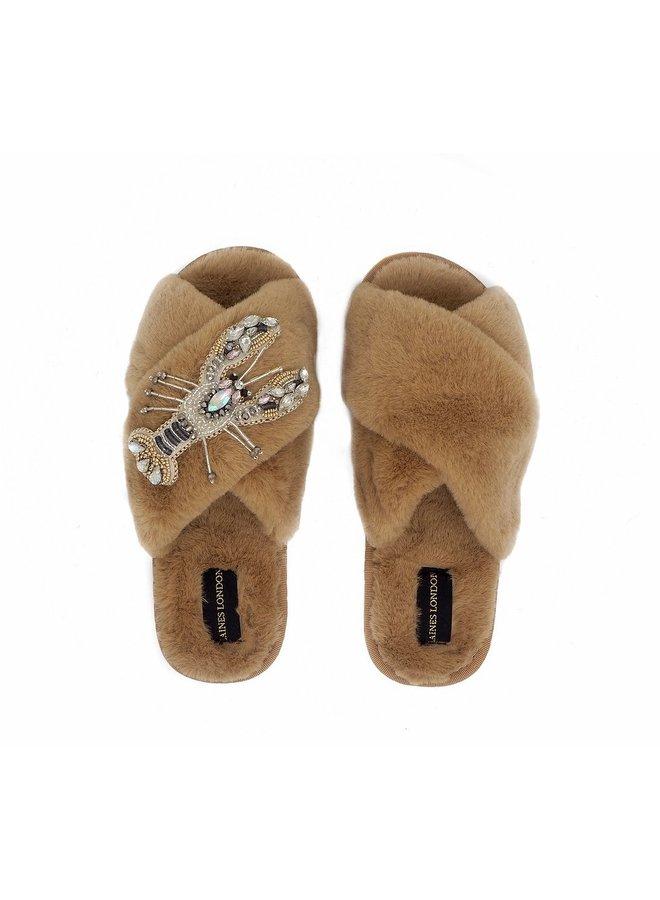 Lobster slippers - Caramel/White Crystal