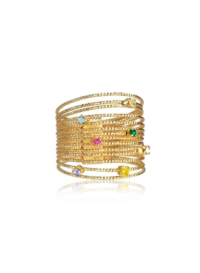 246495 Rainbow Ring (M) - Gold Rainbow Combo