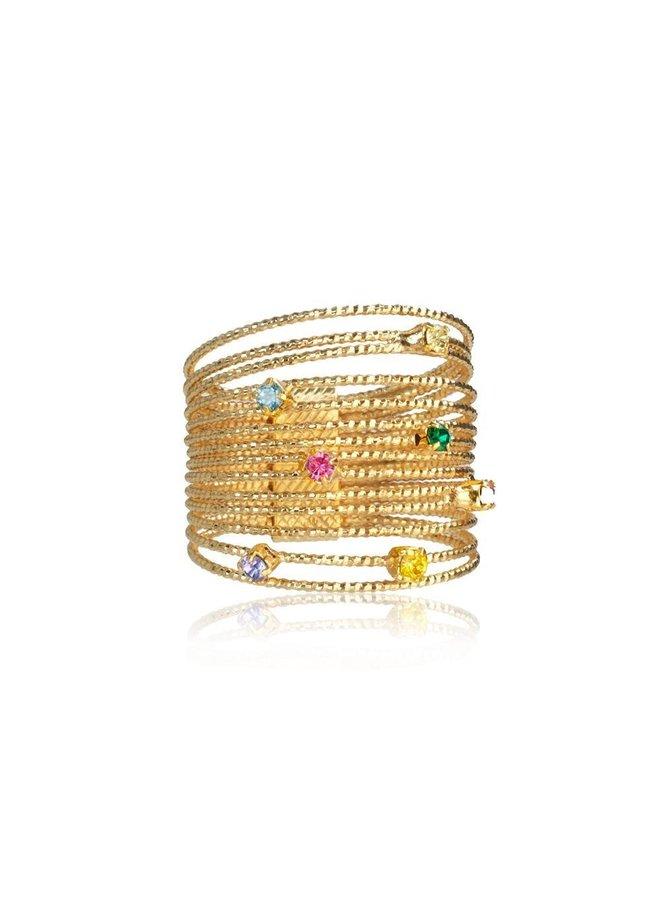 246501 Rainbow Ring (L) - Gold Rainbow Combo