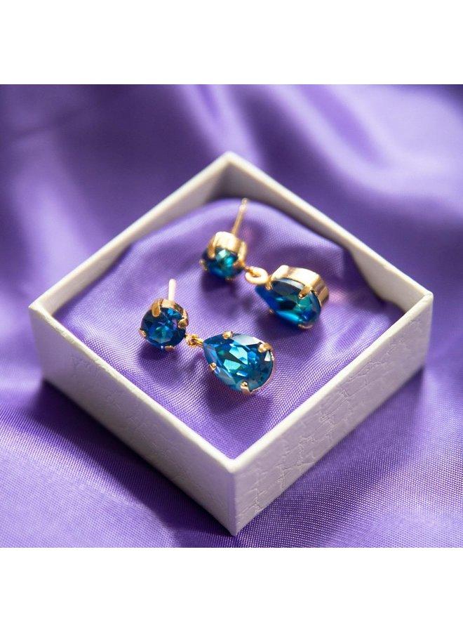 Mini Drop Earring - Gold Royal Blue