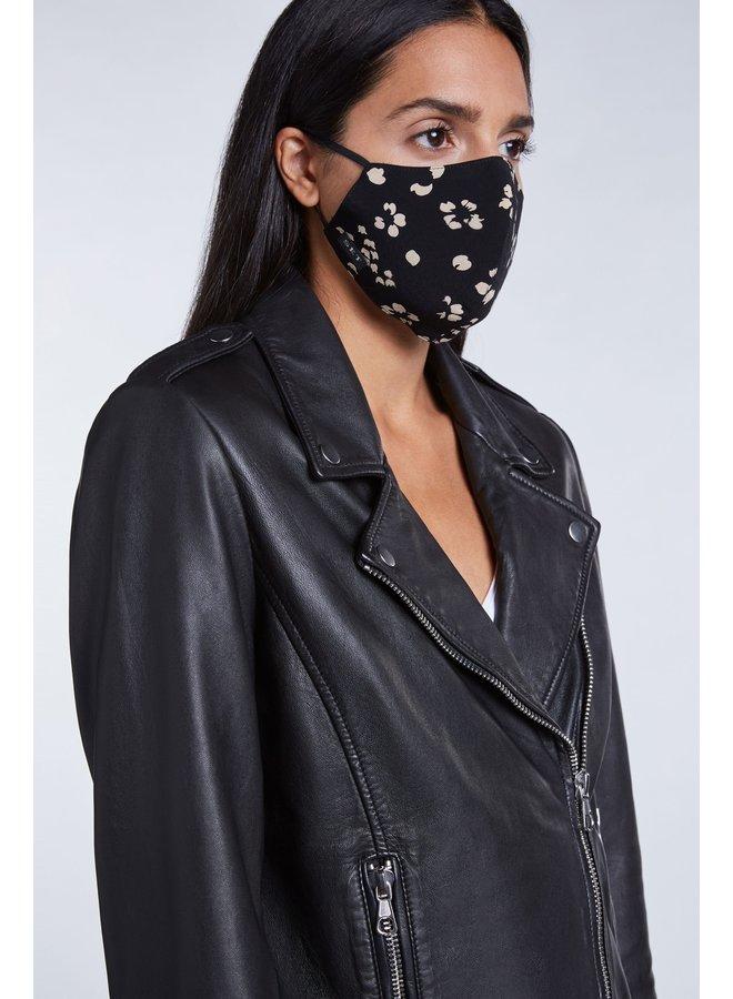 Flower Print Face Mask - Black