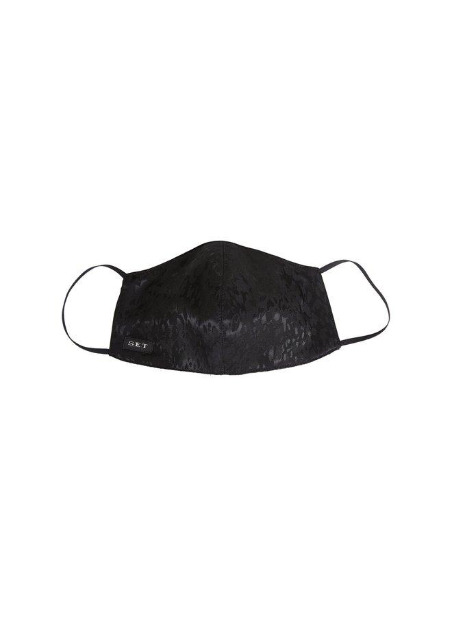 Jacquard Print Face Mask - Black