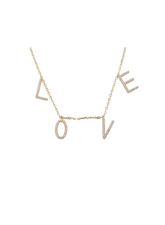Cubic Zircon LOVE Necklace - Gold