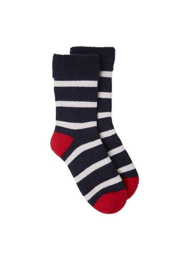 Slipper Socks Breton Stripe - Navy/White/Red