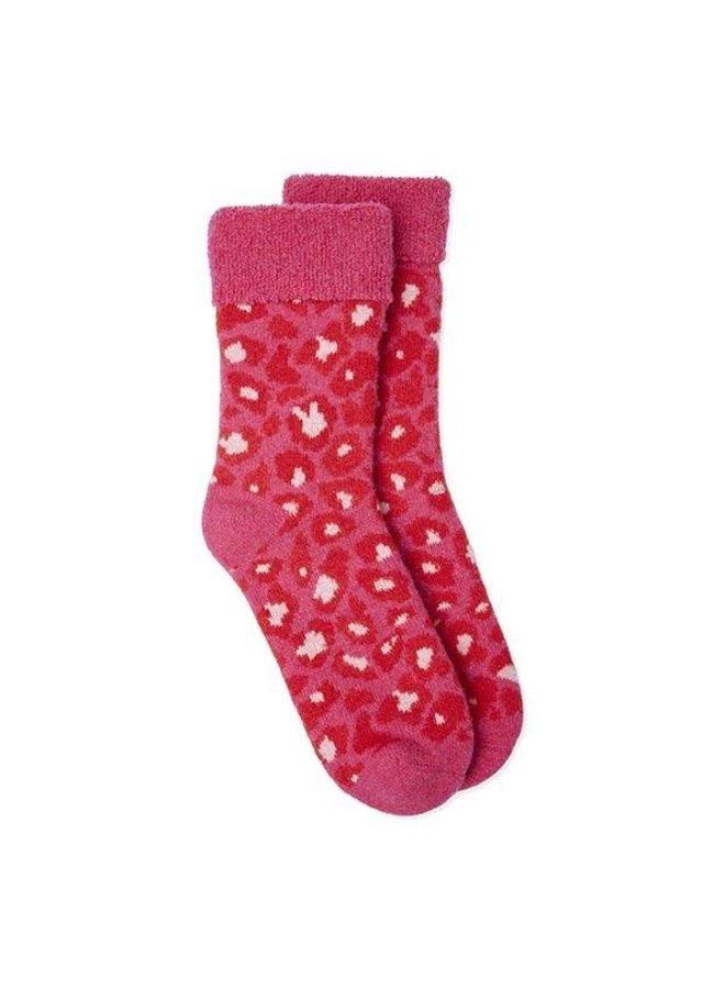Slipper Socks Leopard - Red/Pink