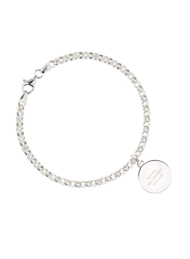 Silver belcher bracelet with compass