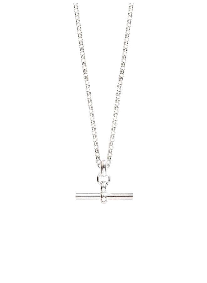 Small Silver T-Bar on Belcher Chain 50cm