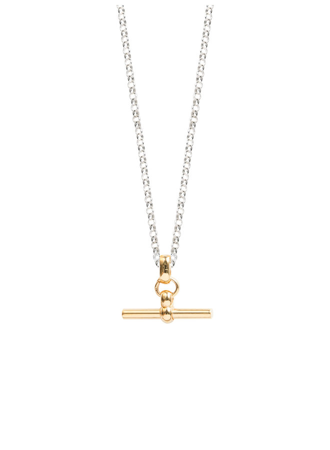 Gold and Silver T-Bar Necklace 50cm