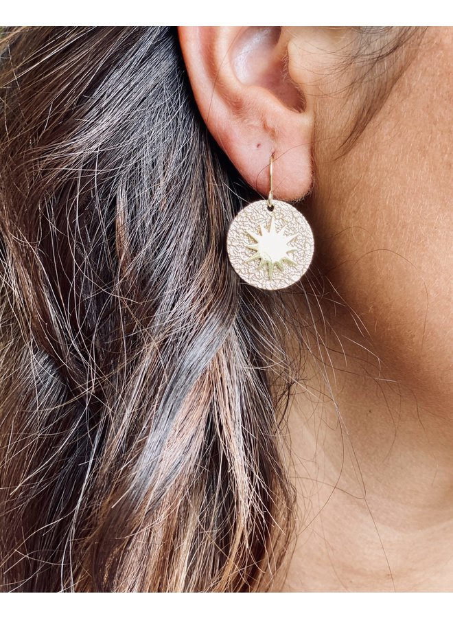 Hammered disc star earrings - Silver