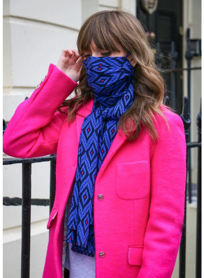 doodiescarf - Ikat navy/cobalt/pink
