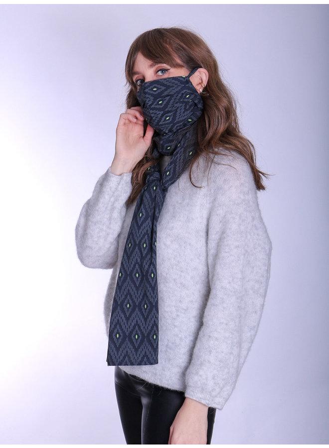 doodiescarf - Ikat grey/green