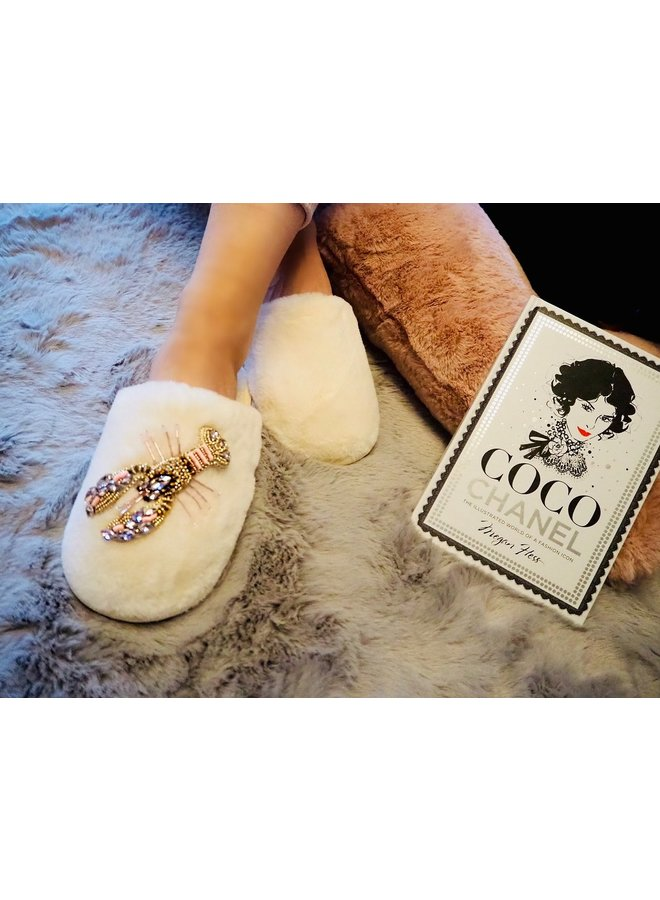 Lobster closed toe slippers - Cream/Pink