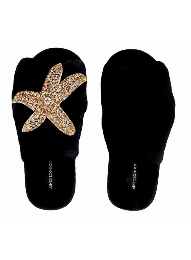 Starfish Slippers - Black/Rose Gold