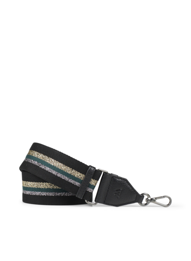 Finley Bag Strap - Black w/black gold dark green silver