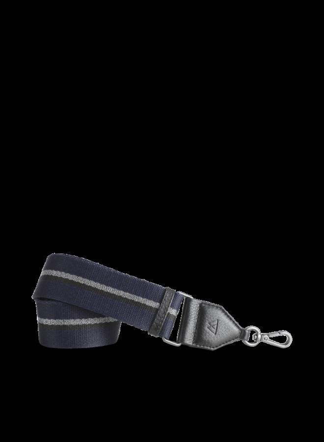 Finley Bag Strap - Black w/navy black gun metal