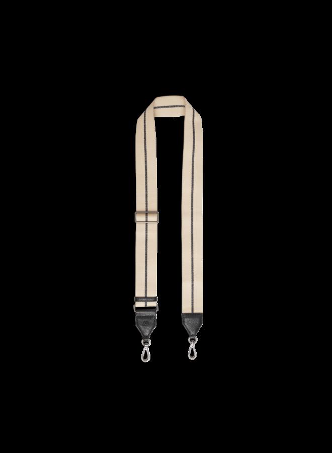 Finley Bag Strap - Black w/camel gunmetal metallic