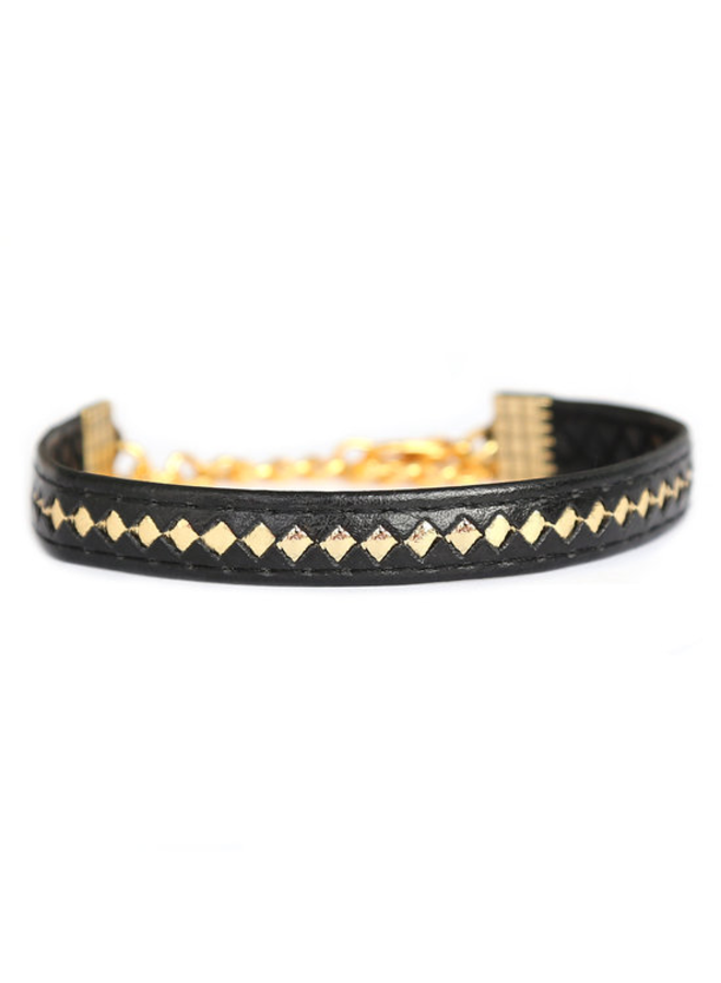 Leather black gold bracelet