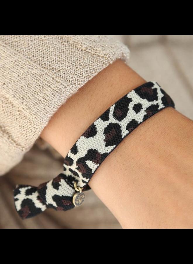 Woven bracelet Leopard beige