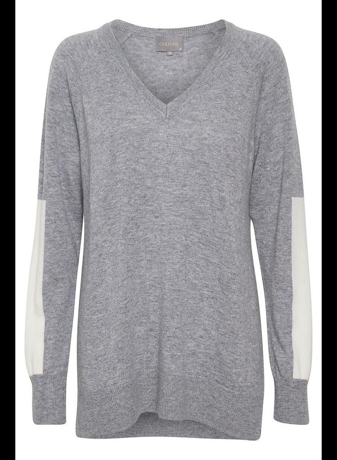 Alli V-neck Pullover - Lt Grey Mel