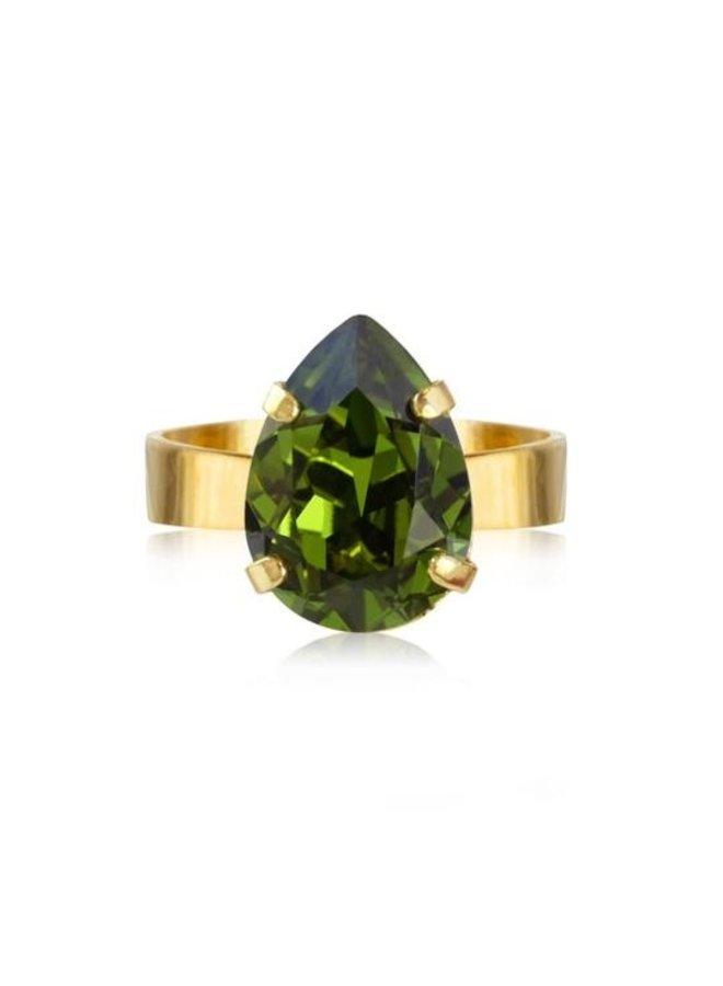 Mini Drop Ring - Gold Olivine