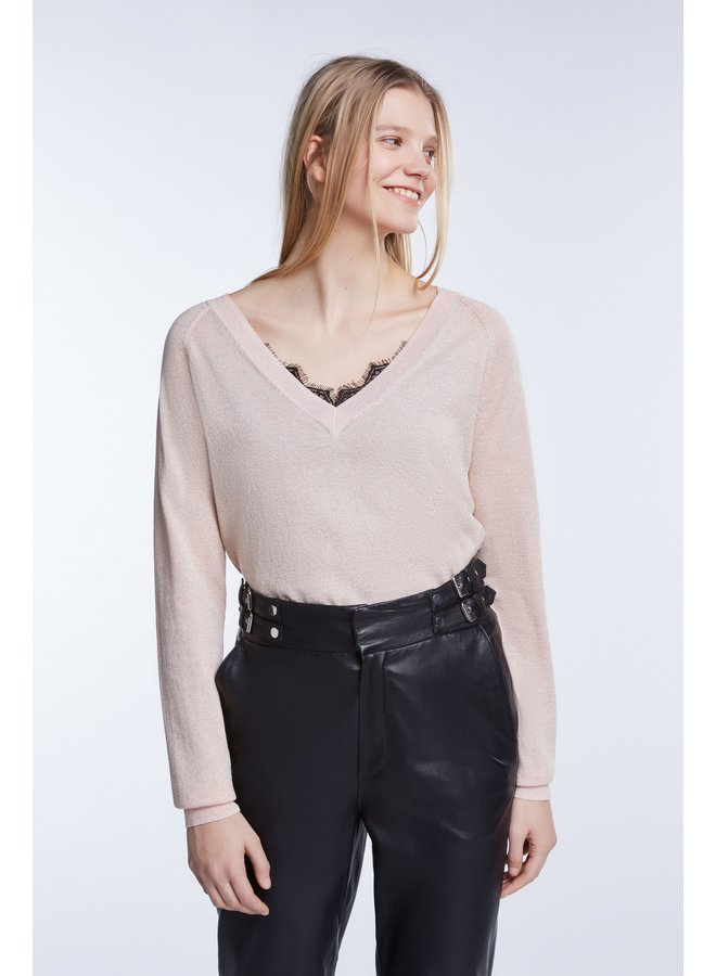 V-neck Sparkly Jumper - Pale Pink