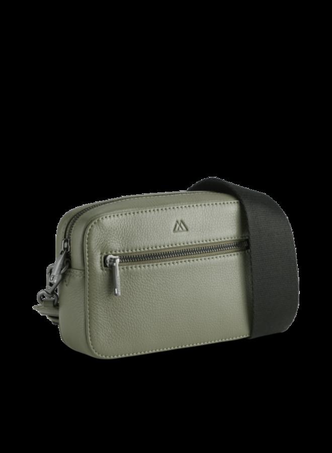 Elea Grain Crossbody Bag - Olive/Black Strap