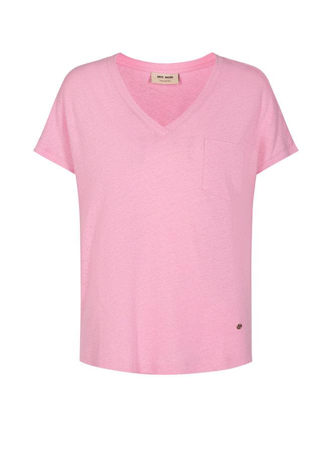 Maya V-Neck Tee - Bubble Pink