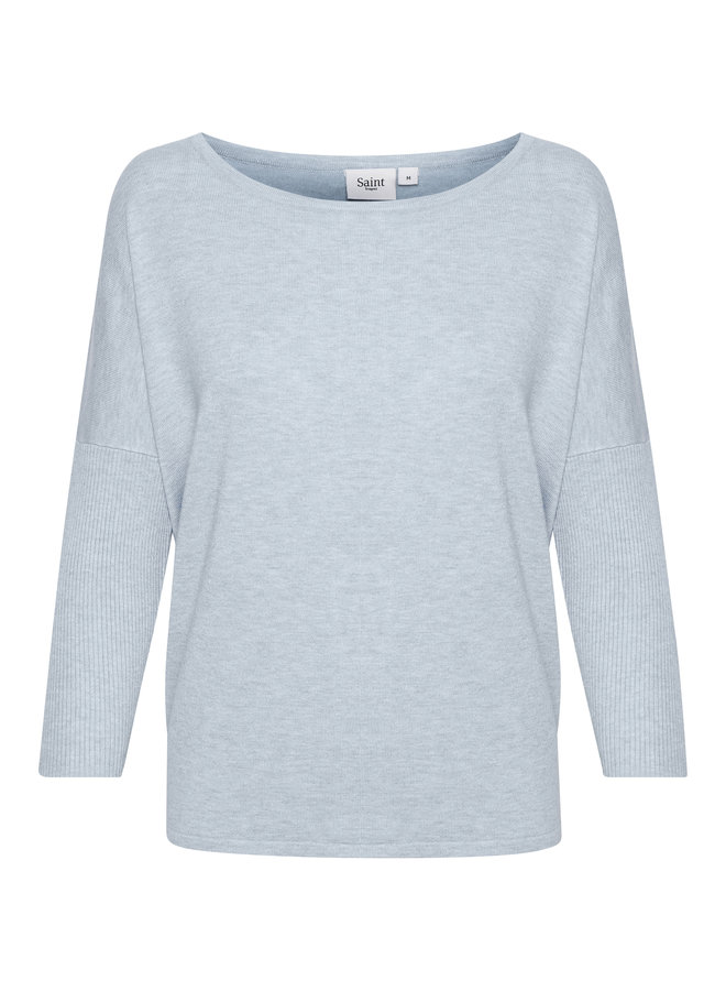 Mila Jumper with Ribbed Sleeves - Cerulean