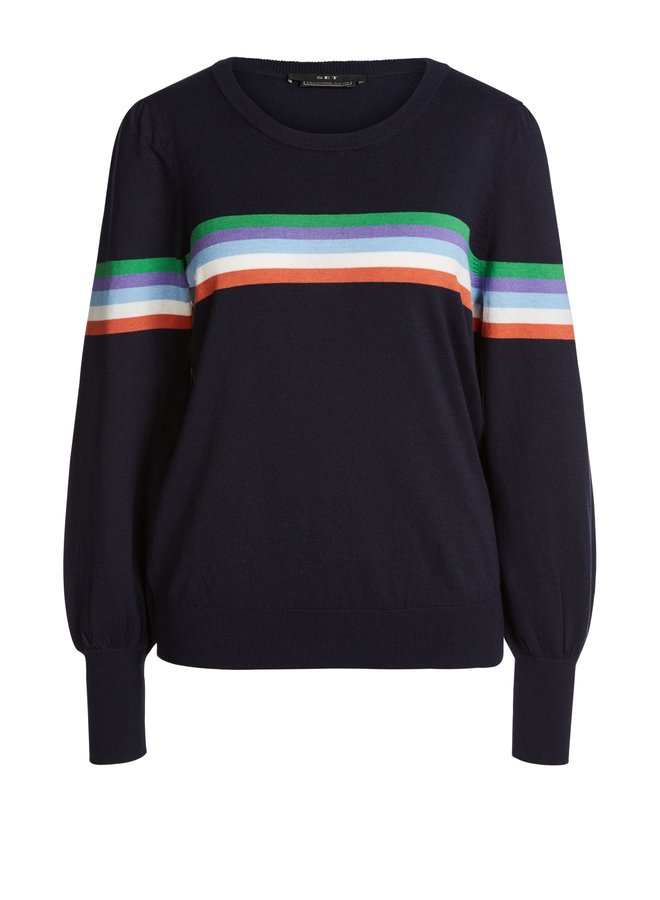 Rainbow stripe knit - Navy