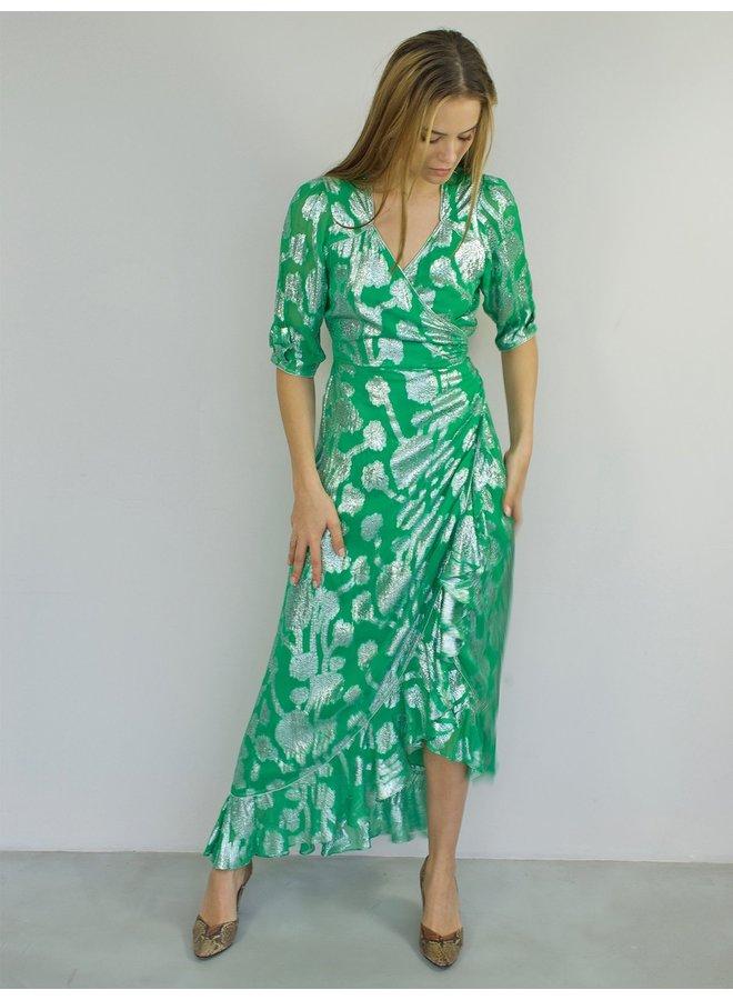 Sweetheart Flamenco Dress - Metallic Jade Silver
