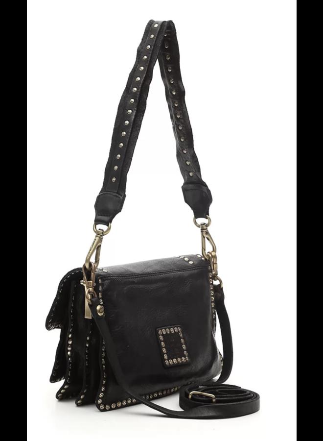 Agnese Small Crossbody Bag Studs - Black