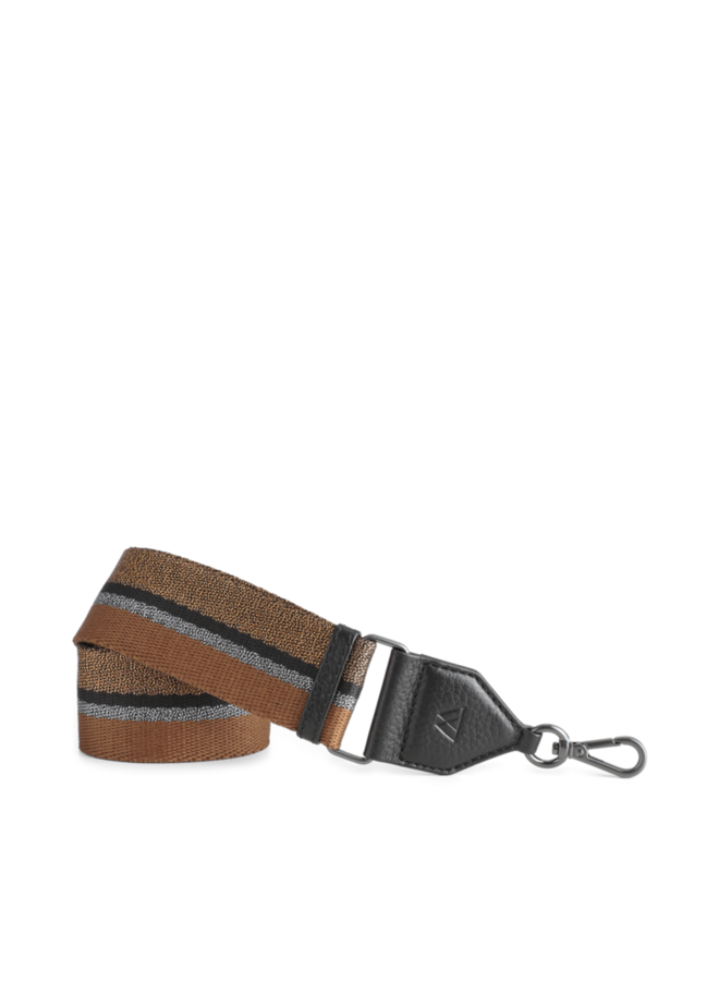 Finley Bag Strap - Black w/chestnut gunmetal black copper