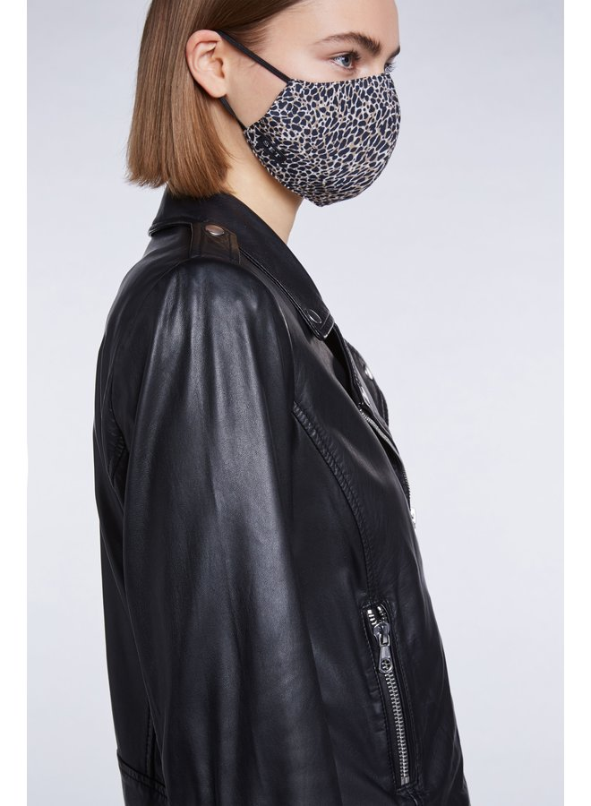 Animal Print Face Covering - Dk Camel Grey