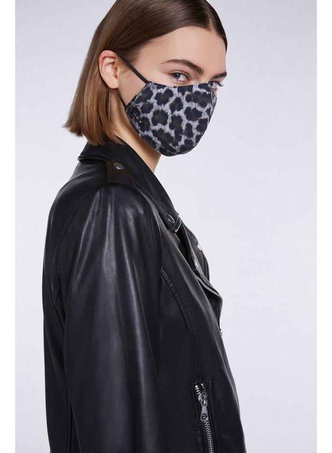 Animal Print Face Covering - Grey Black