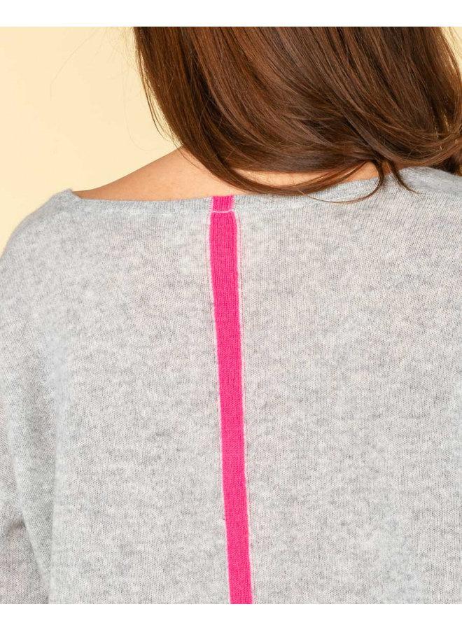 Marcelle v-neck with back stripe - Gris chine/rose