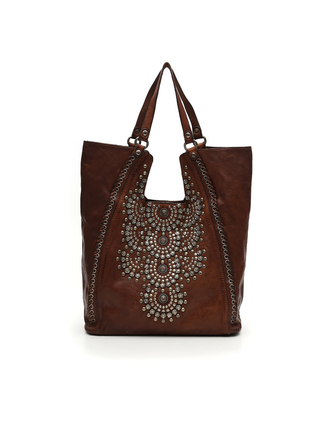 Leather Shopping Bag with Studs - Cognac