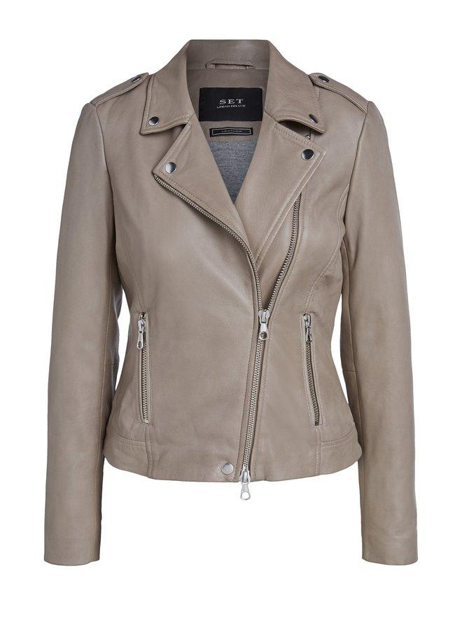 Tyler Leather Jacket - Taupe