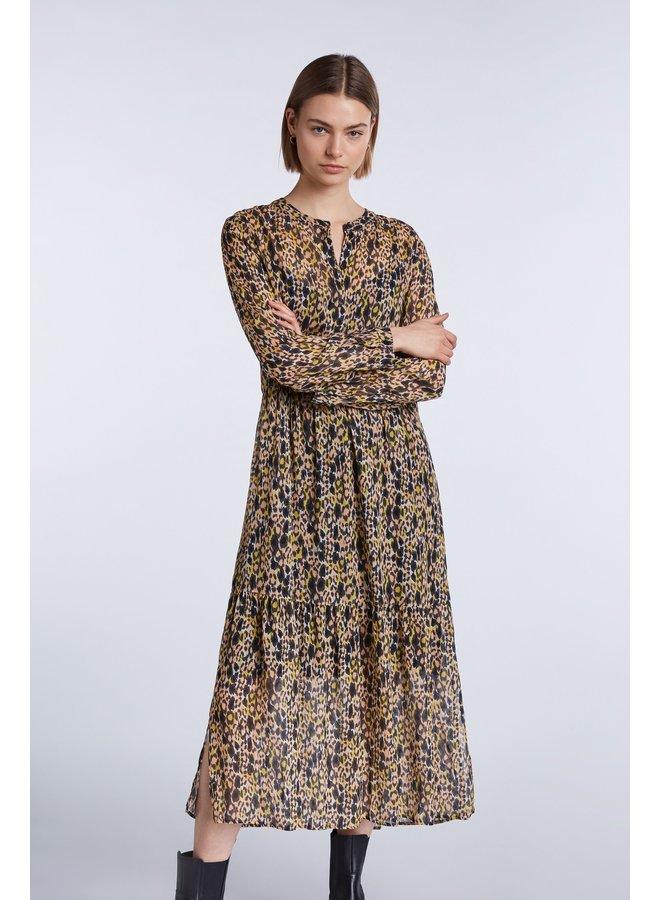 Animal Print Dress - Apricot Black