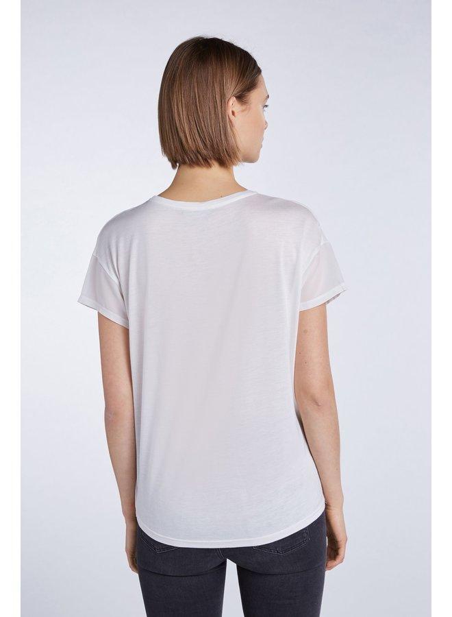 Mixed Fabric Blouse - Egret