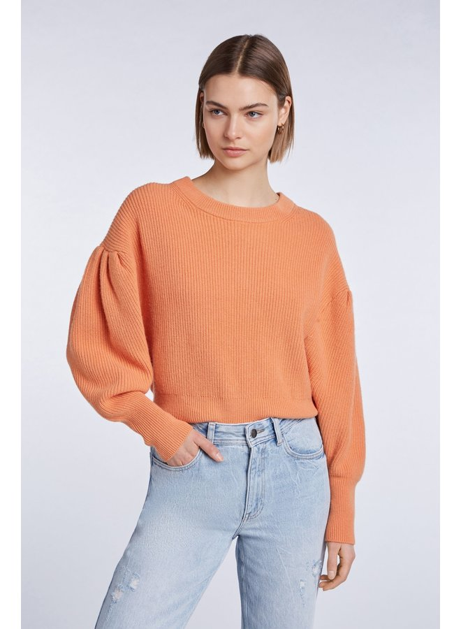 Balloon Sleeve Jumper - Coral Gold