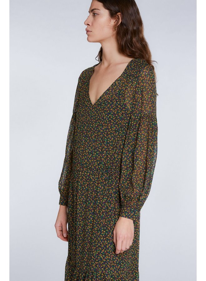 Floral Print Dress - Black Green