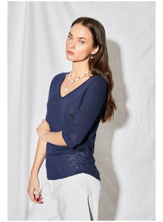 3/4 Sleeve V-neck Linen Tee - Bleu Inoui