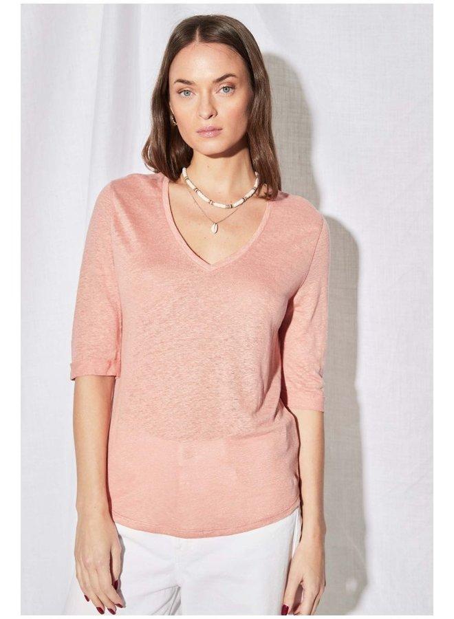 3/4 Sleeve V-neck Linen Tee - Blush Absolu