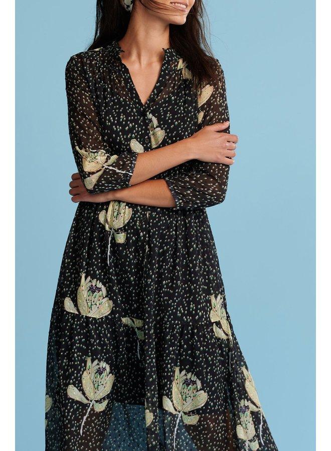 Flower Print Dress  - Artichoke Kisses Dark