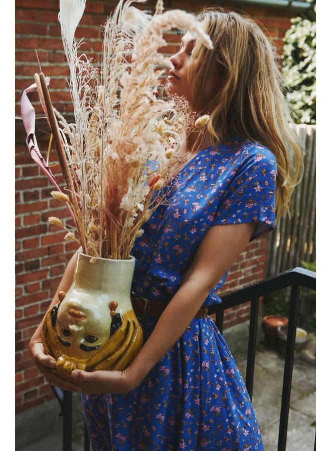 Anja Dress - Blue Flower Print